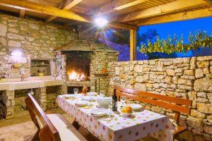 Outdoor fireplace at Villa Vicina