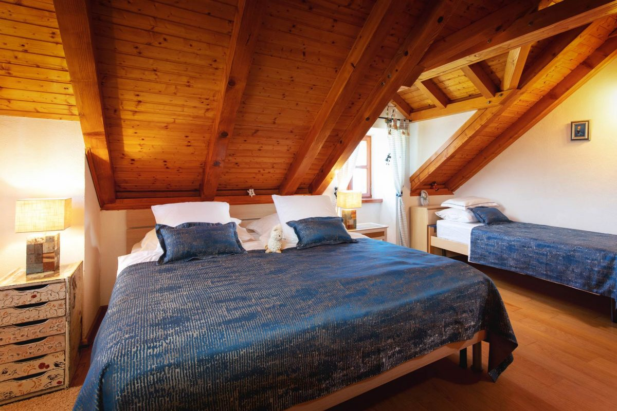 Spacious room with a king-sized bed and one single bed