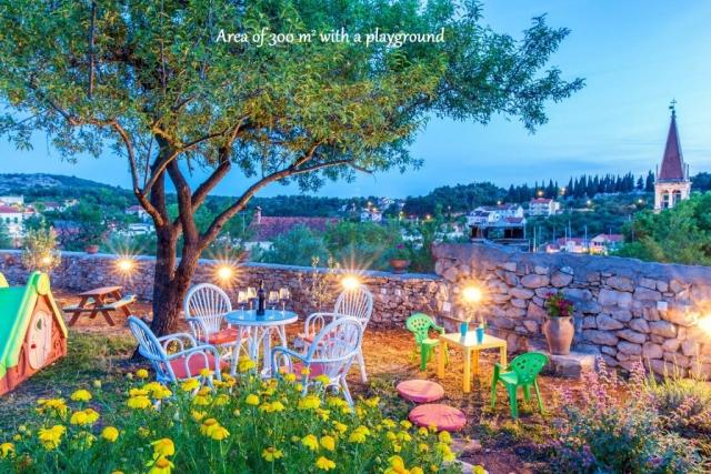 Illuminated garden at night