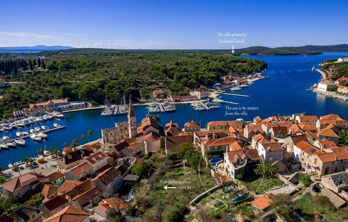 Drone view at Villa Vicina and Milna on the island of Brac