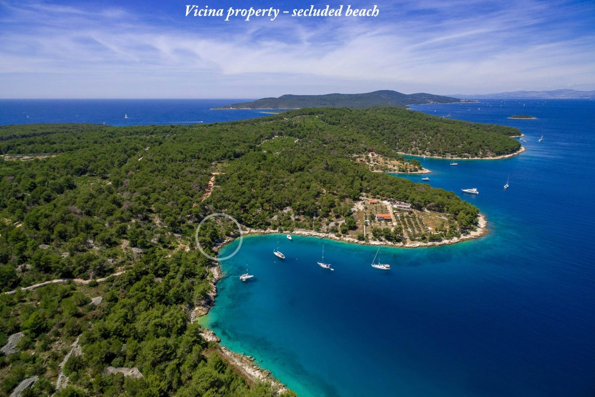 Drone view of Brac island and marked villa location